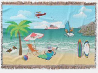 Kids Sailing, Mom Sun Tanning - Fun Beach Vacation Throw Blanket