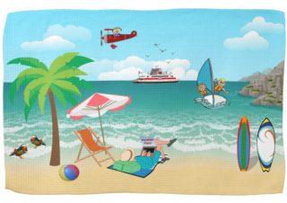 Kids Sailing, Mom Sun Tanning - Fun Beach Vacation Kitchen Towel