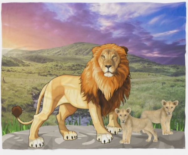Beautiful Mountain with Lions Fleece Blanket