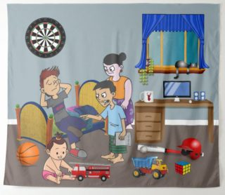 Kid with Messy Room - Negotiating a Truce Tapestry