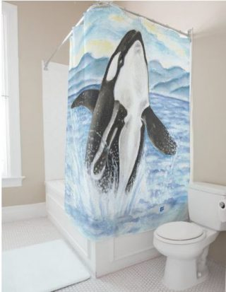 Watercolor Breaching Orca Whale Shower Curtain