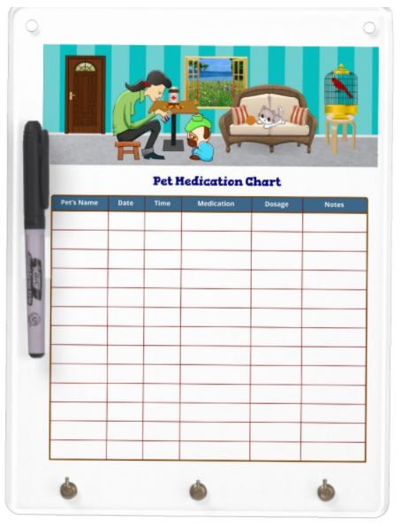 Pet Medication Chart - Dry Erase Board