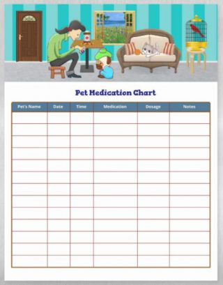 Pet Medication Chart - Magnetic Dry Erase Sheet