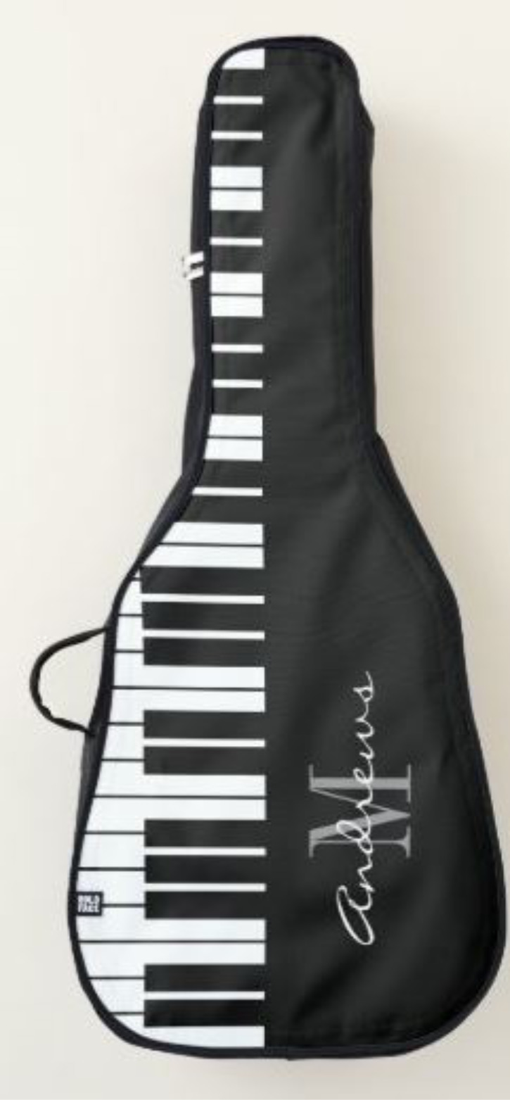Custom monogram piano key acoustic guitar bag case