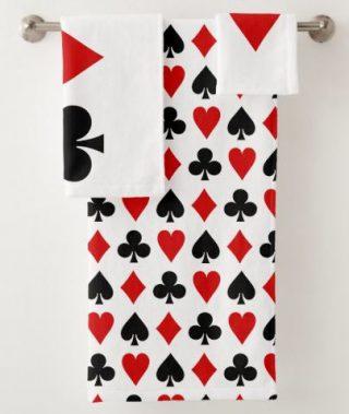 Original Playing cards Diamond Club Heart Spade Bath Towel Set