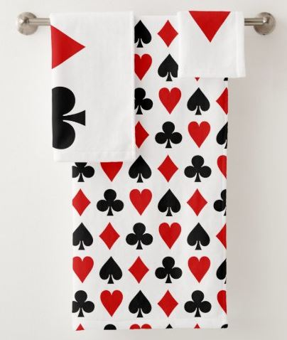 Original Playing cards Diamond Club Heart Spade Bath Towel Set