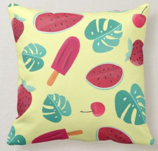 Watermelon Popsicle Cherry Throw Pillow