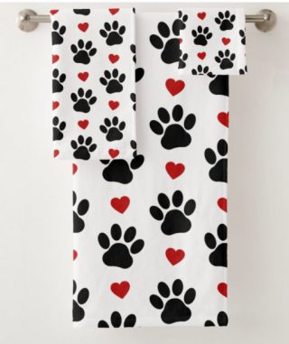 Dog Paws, Traces, Animal Paws, Hearts - Red Black Bath Towel Set