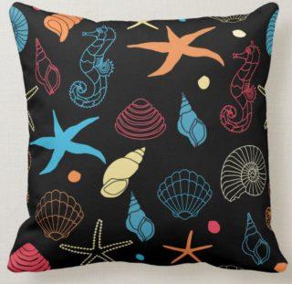 Sea Life Starfish and Shells Throw Pillow