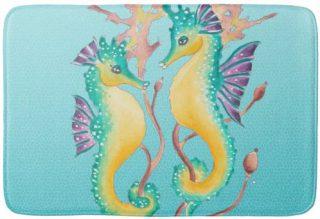 seahorses teal stainglass bath mat