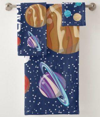 Solar System Kid's Personalized Bath Towel Set