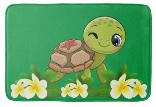 Cute Turtle In Green Bath Mat