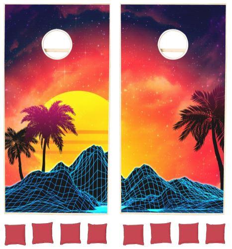 Vaporwave landscape with palm trees cornhole set