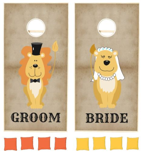 Wedding Lion Cartoon Bride Groom Couple Cornhole Set